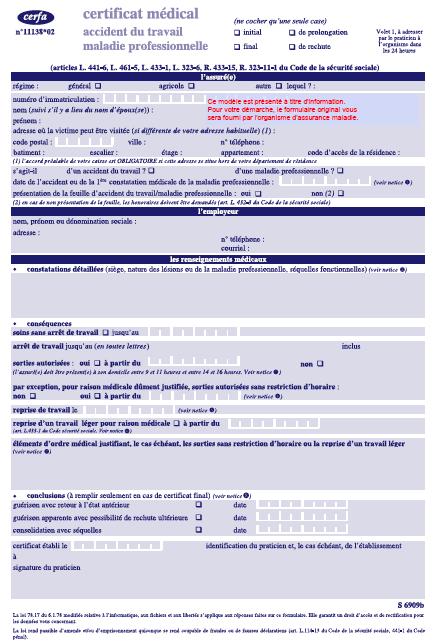 Certificat médical CERFA 11138*02