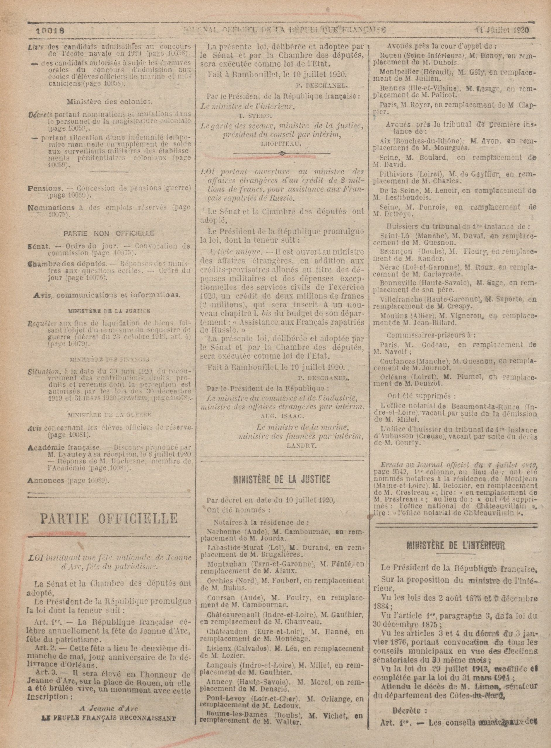 Journal officiel du 14 juillet 1920, page 10018