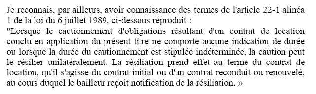 Caution solidaire resiliation loyer
